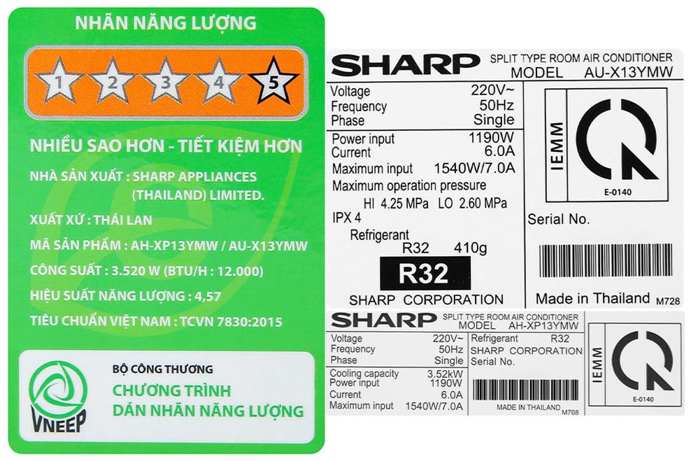 Máy điều hòa Sharp Inverter AH-XP13YMW 1 chiều 12000Btu