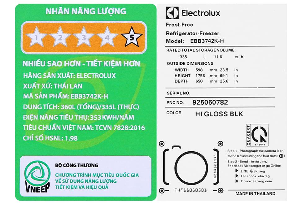 Tủ lạnh Electrolux EBB3742K-H 335 lít Inverter
